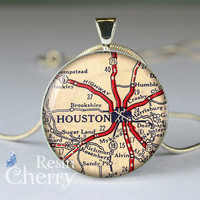 Houston map jewlery,map necklace,map pendant,Houston map resin pendant,charm jewelrys- M0345CP