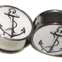 "Anchor Plugs - 1 Pair - Sizes 2g, 0g, 00g, 7/16"", 1/2"", 9/16"", 5/8"", 3/4"", 7/8"" & 1"""