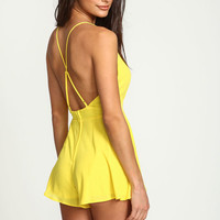 YELLOW X BACK PLUNGE ROMPER