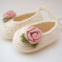 Organic Baby Ballet Shoes Baby Booties in Cream with by JennOzkan