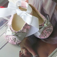 Baby Shoes Couture Ballet Slippers Pink and by revolutionarysoul