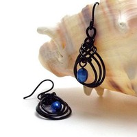 Black Teardrop Dangle Earrings with Cobalt Blue Freshwater Pearls