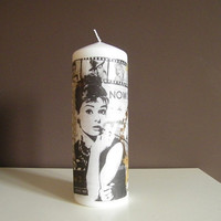 Decorative  Candle , Audrey Hepburn, Unscented, Home Decor, Hand Made Decor, Gift Idea, black gold, Vintage Style, Decoration your space