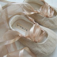 Organic  Khaki Beige Hemp Linen  Ballet Shoe For Your by BobkaBaby