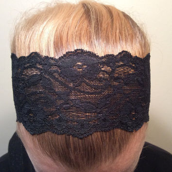 """2 Black Lace Headbands, Hairbands , Stretchy  - READY TO SHIP! 3"""" Wide and 1"""" Wide"""