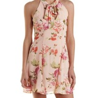 Floral Chiffon Tie-Neck Skater Dress by Charlotte Russe - Peach Combo