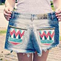 Hippy wild and free jean shorts. tribal ombre. cut offs. vintage. studs.