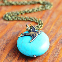 Turquoise Necklace - bird necklace, turquoise and bird necklace, sparrow necklace, antique brass bird, antique gold bird