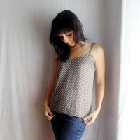 Polka dot tank top - babydoll top tunic top womens top