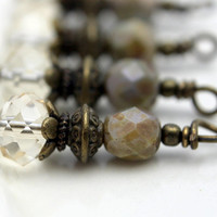 Champagne Faceted Rondelle Crystal with Czech Beads and Brass Beaded Dangle Drop Charm Set