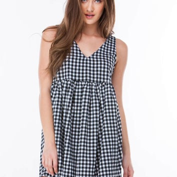 Check Me Out Gingham Babydoll Dress