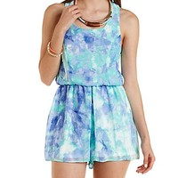 Caged Back Watercolor Print Romper by Charlotte Russe - Blue Combo