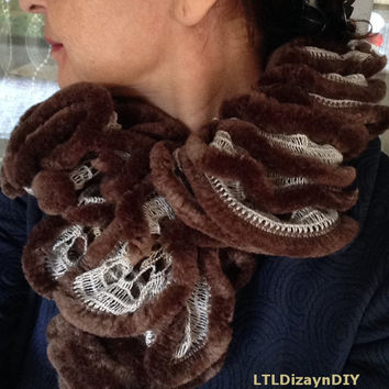 Brown Ecru Ruffled Infinity Scarf Handknitted Chunky Neck Warmer Winter Fashion 2015 Women's and Girl's Accessory Trendy Christmas Gift
