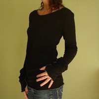 thumb hole top Black