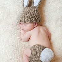 Newborn Bunny Hat &amp; Diaper Cover SetPerfect for by britt6934