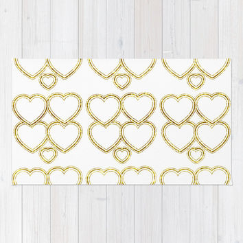Golden hearts Rug by VanessaGF