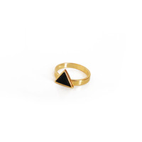 Triangle Inset Ring - Gold/Black