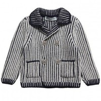 Blue & Grey Wool Knitted Cardigan