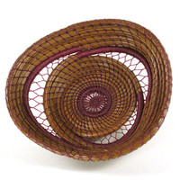 Coiled Pine Needle Basket Handmade Nature Craft Decor Teneriffe Lace Technique in Raspberry Color One Of A Kind Gift under 100 Small Basket