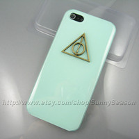 IPhone 5 Case,Bronze Harry Potter Deathly Hallows Jelly Mint Green iphone 5 Hard Case