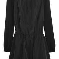 Karl Lagerfeld Danette satin-twill and chiffon dress – 55% at THE OUTNET.COM