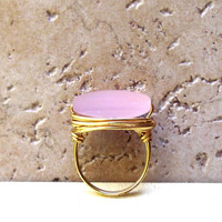 Pink Sea Glass Ring:  Brass Wire Wrapped Jewelry,  Pale Blossom Rose Pink Beach Glass, Size 7
