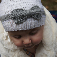 Hand Knit Baby Hat with Bow, White and Grey Merino Wool Girl's Beanie, Made to Order