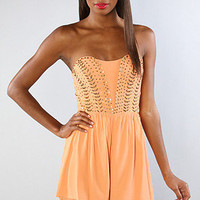 The Sound Session Strapless Romper in Sherbet