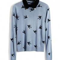 Embellished Contrast Collar Knit Sweater with Swallow Print