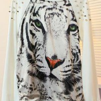 Tiger Print Rivets Sweatshirt