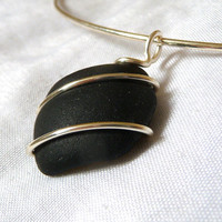 Black sea glass choker, necklace, silver, handmade