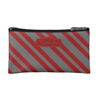 Chic Crimson & Gray Stripes, Personalize w Name
