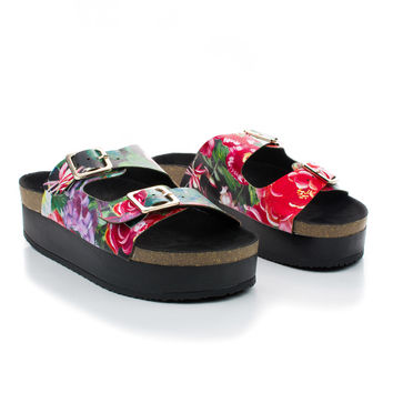 Reina01 Floral Slip On Buckle Strappy Footbed Flat Platform Sandal