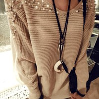Fashion design Korea Womens Long Sleeve Pearl Knit Cardigan Top Jacket