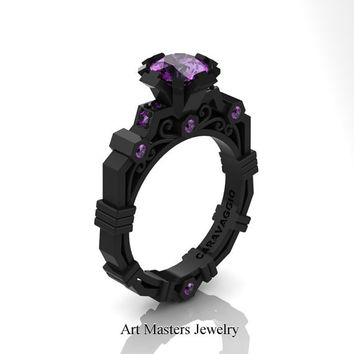 Caravaggio Modern 14K Black Gold 1.0 Ct Amethyst Engagement Ring R624-14KBGAM
