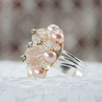 Ring made from vintage jewelry Adjustable beautiful by DotStitch