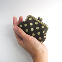Frame Coin Purse- mini  jewelry case with ring pillow- gold polka dots