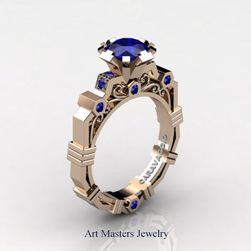Caravaggio Modern 14K Rose Gold 1.0 Ct Blue Sapphire Engagement Ring R624-14KRGBS