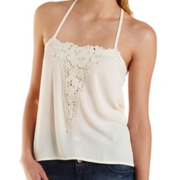 Strappy Crochet Applique Tank Top by Charlotte Russe - Teal