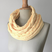 braided loop jersey in mango sorbet, light yellow, pastel