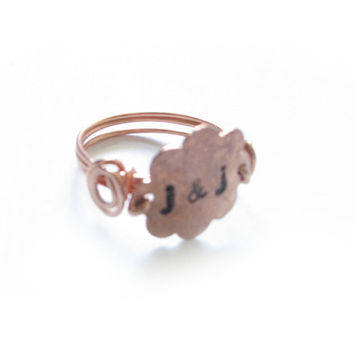 Copper Flower Ring Hand Stamped Hammered Wire Wrapped Ring Jewelry Any Size gift birthday wedding