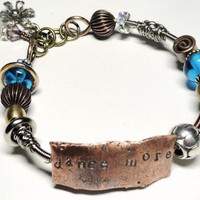 Dance More Mixed Metal Hand Stamped Bangle Bracelet