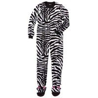 Nick & Nora® Women's Zebra Footie Pajama - Black/White