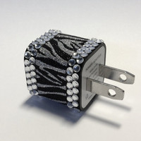 Zebra Glitter &amp; Clear Rhinestone iPhone USB Charger