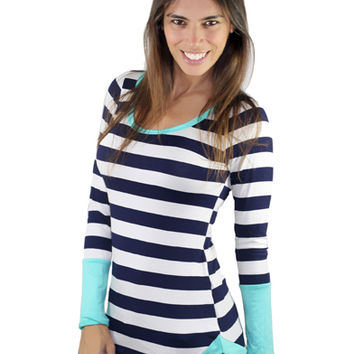 Mint And Navy Top With Buttons