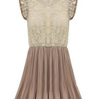 Majestic Delight Lace Butterfly Sleeve Accordion Dress in Mocha | Sincerely Sweet Boutique