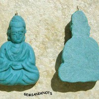Handmade Turquoise Blue Clay Buddha Pendant 41mm A0501