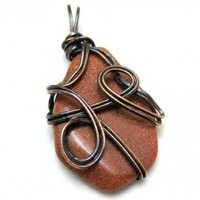 Copper Goldstone and Wire Wrapped Small Pendant