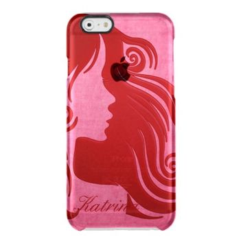 Chic Silhouette Long Red Haired Girl iPhone6 Case