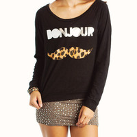 bonjour-graphic-leopard-mustache-tee BLACKSLVR - GoJane.com